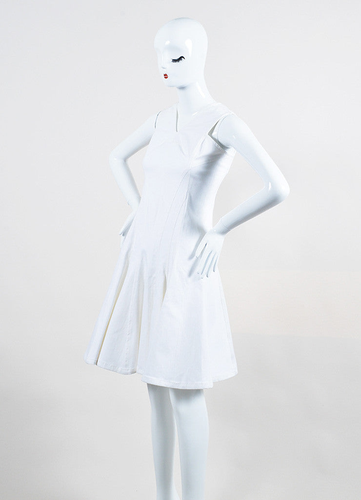 Derek Lam White Stretch Cotton Denim Sleeveless V-Neck Paneled and Flared Dress Sideview