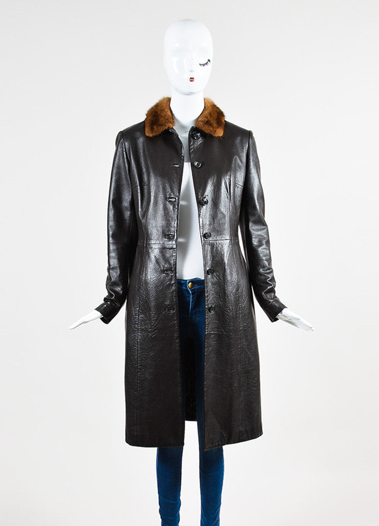 Dolce & Gabbana Brown Leather Fur Collar Long Jacket Frontview