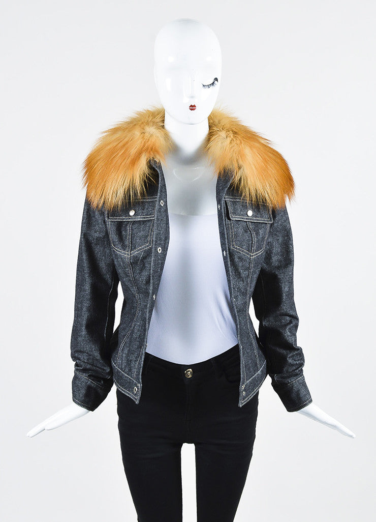 Dolce & Gabbana Dark Blue Denim Fox Fur Removable Collar Snap Front Jacket Frontview