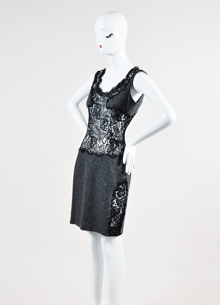 Grey and Black Dolce & Gabbana Wool Sheer Lace Herringbone Sleeveless Dress Sideview