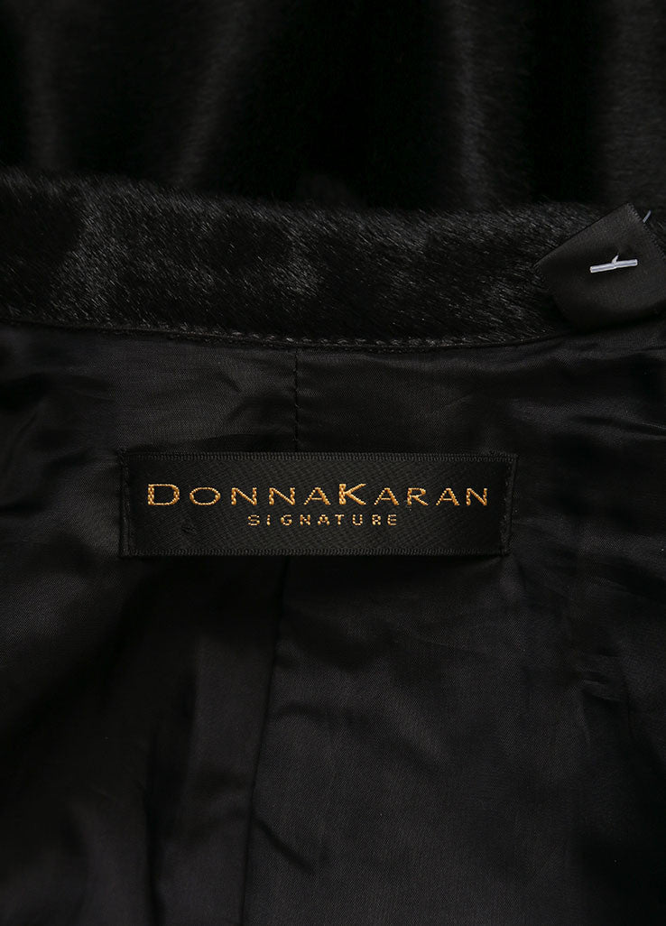 Donna Karan Black Pony Hair Leather Long Sleeve Jacket Brand