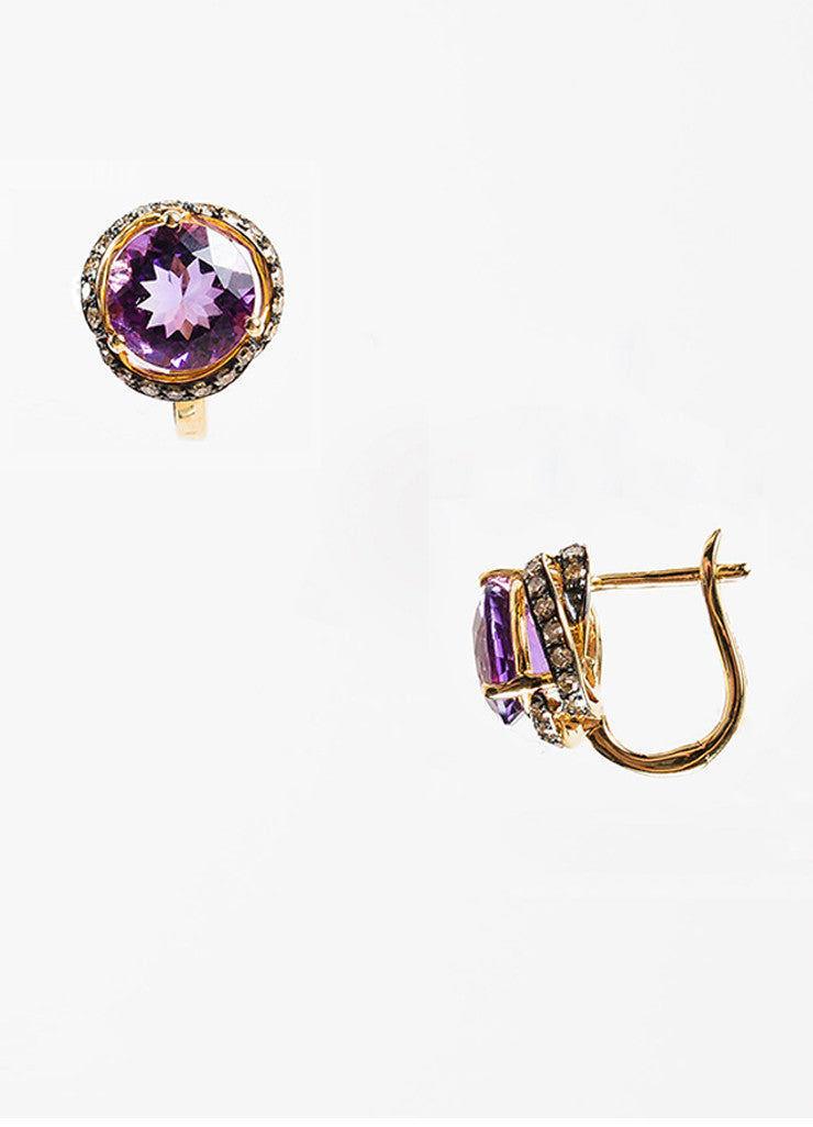 Effy 14K Yellow Gold 0.52 ct Brown Diamond Amethyst Earrings Sideview