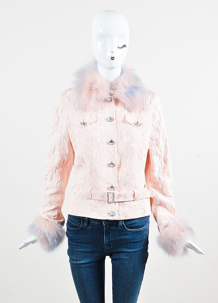 Escada Pink Silk Blend Fox Fur Trimmed Floral Jacquard Belted Jacket Frontview