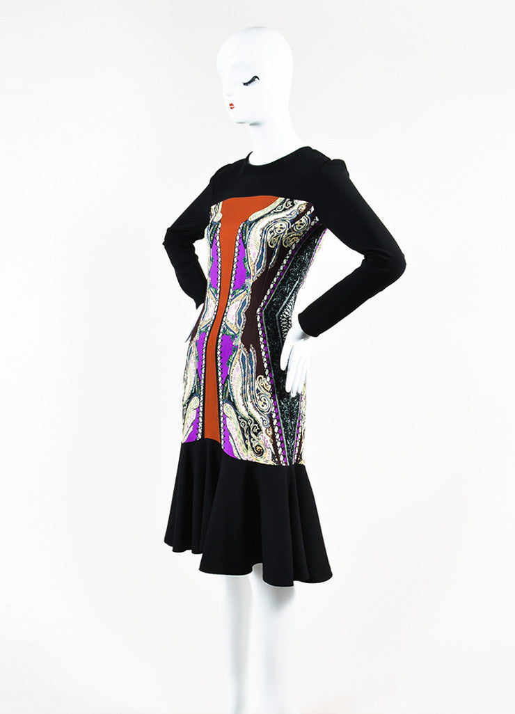 Etro Black, Brown, and Cream Wool Blend Multi Print Trumpet Hem Dress Sideview