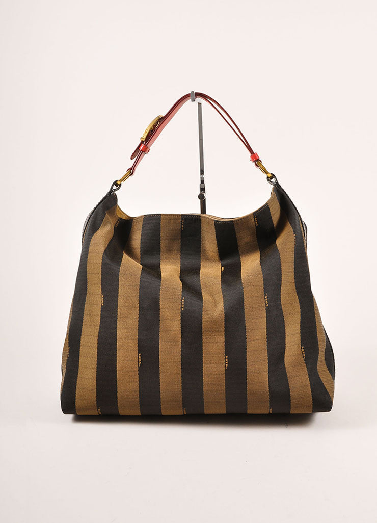 "Fendi Brown, Black, and Red Canvas Leather Trim Stripe ""Pequin"" Hobo Bag Frontview"
