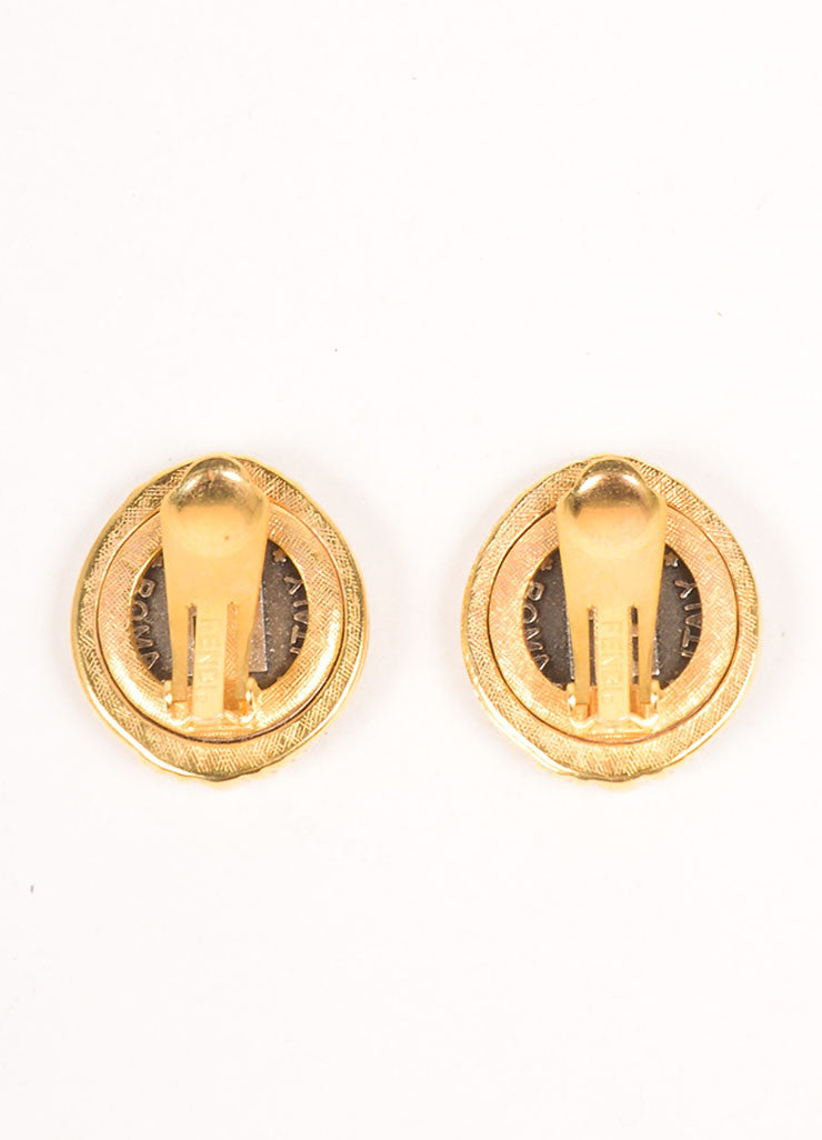 Fendi Gold Tone Gray Janus Face Logo Round Clip On Earrings Backview
