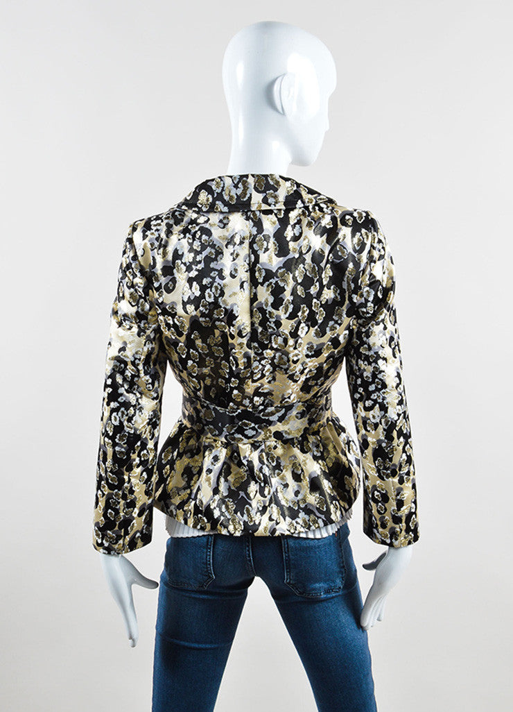 Giambattista Valli Cream, Black, and Gold Metallic Belted Peplum Jacket Backview