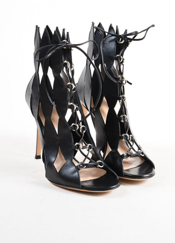 Gianvito Rossi Black Cut Out Lace Up Sandals Frontview