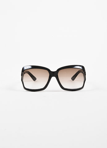 "Gucci Black 'GG' Logo ""2598/S"" Square Sunglasses Frontview"