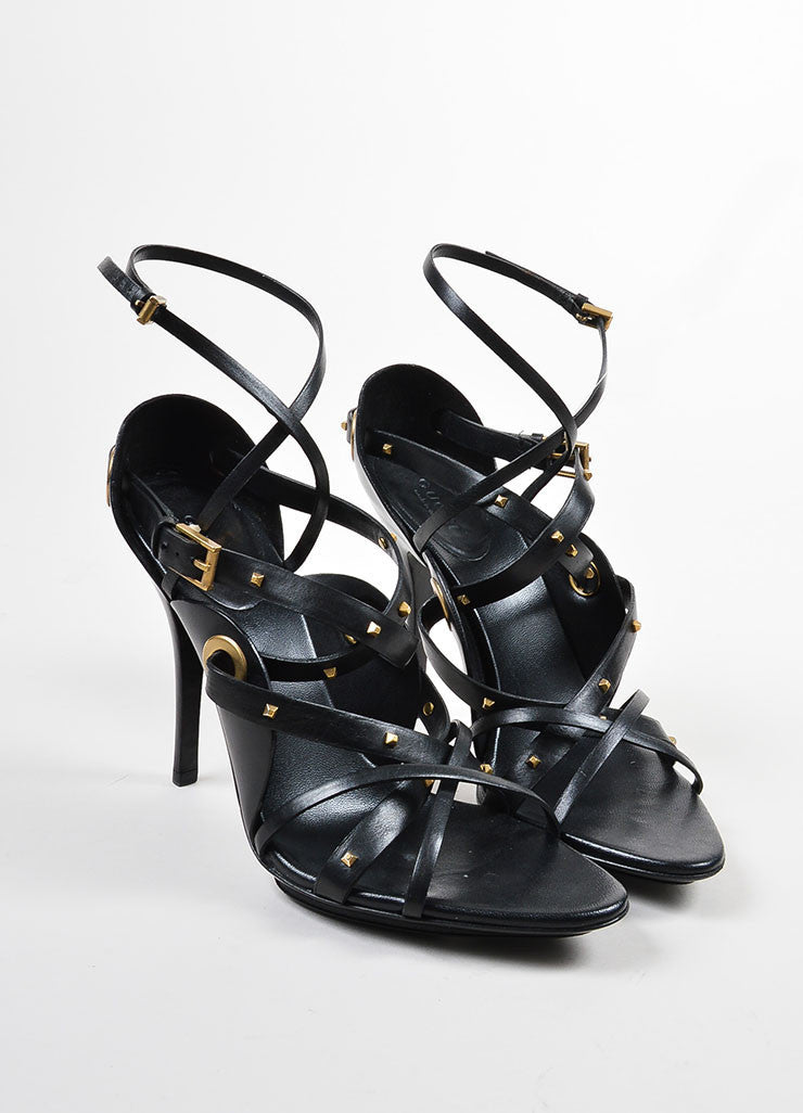 Gucci Black and Gold Leather Studded Strappy Heeled Sandals Frontview