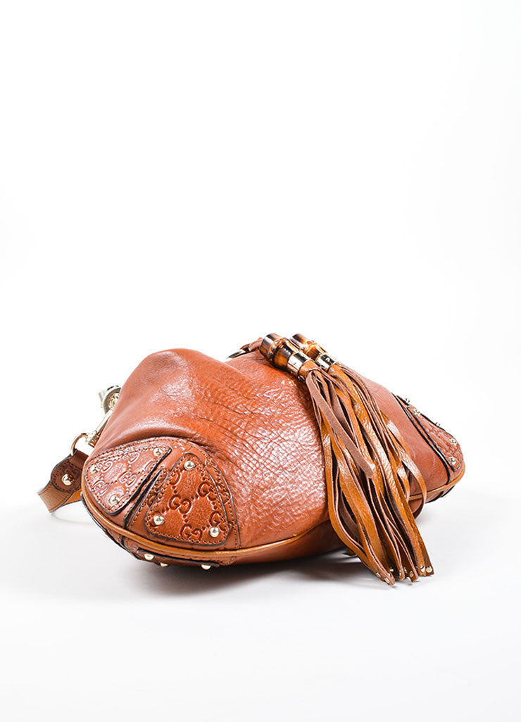 "Gucci Cognac Leather Logo Embossed Tassel ""Indy Hobo"" Bag Bottom View"