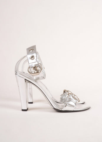 Gucci Metallic Silver Patent Leather Ankle Strap Buckle High Heel Sandals Sideview