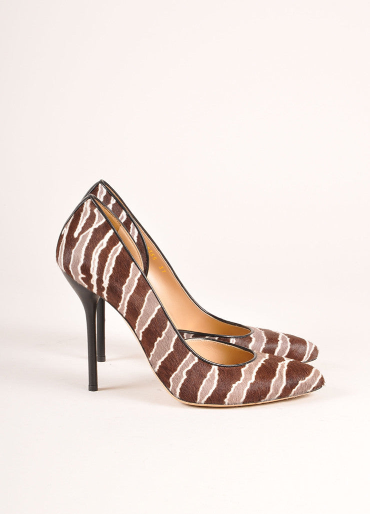 Gucci New In Box Brown and Grey Striped Pony Hair D'Orsay Pumps Sideview