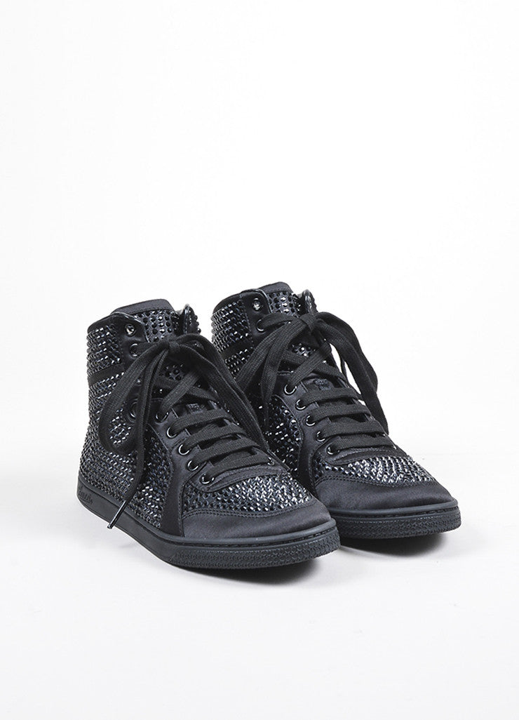 Black Gucci Poli Satin Crystal Embellished Lace Up High Top Sneakers Frontview