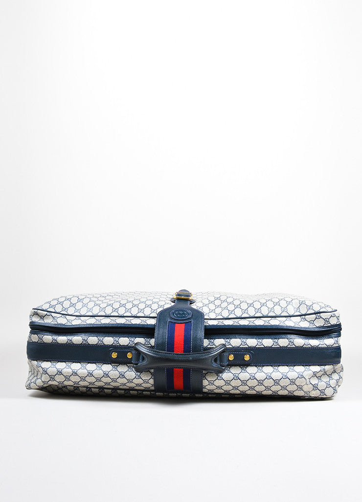 "Gucci Navy Blue and Cream Coated Canvas and Leather ""GG"" Monogram Large Luggage Topview"