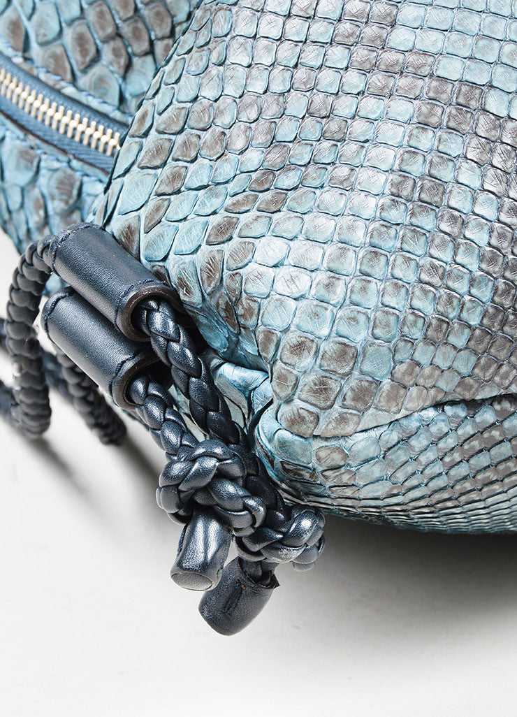 Men's Teal and Black Gucci Python Leather Braid Drawstring Oversized Backpack Detail