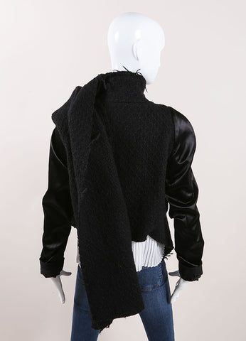 Haider Akermann Black Satin Sleeve Asymmetric Drape Tweed Wool Jacket Backview