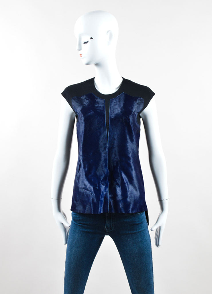 Helmut Lang Black and Navy Pony Hair Panel Sleeveless Top Frontview