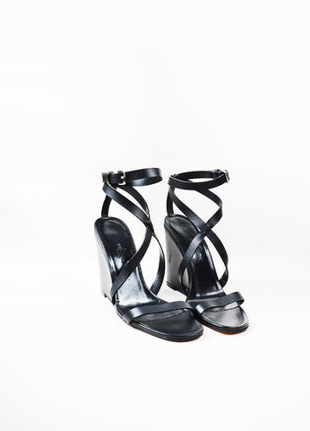 Hermes Black Leather Criss Cross Ankle Strap Wedge Sandals Frontview