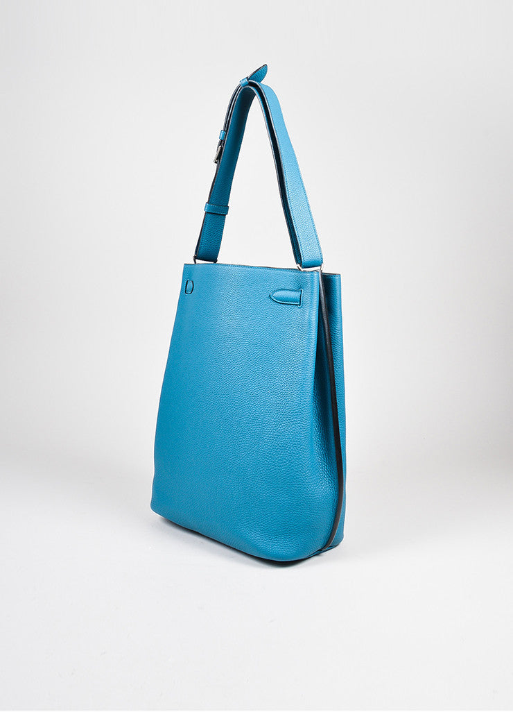 "Blue Hermes Togo Leather ""So Kelly 26"" Bucket Bag Sideview"