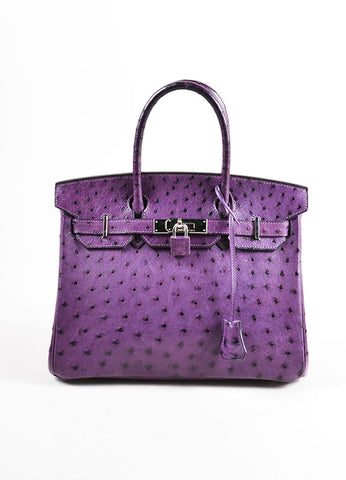 "Hermes Rare Purple ""Violine"" SHW Ostrich Leather 30 cm ""Birkin"" Bag Frontview"