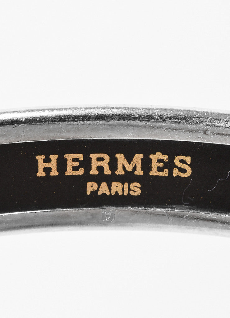 Hermes Silver Toned and Blue Palladium Plated Enamel Dolphin Print Bangle Bracelet Brand