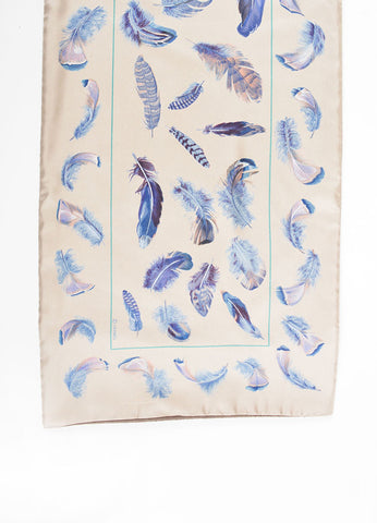 Taupe, Blue and Green Silk Hermes Plumes Stole Scarf Detail