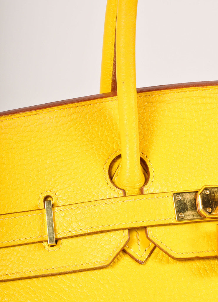 Hermes Yellow and Gold Toned Pebbled Togo Leather 35cm Birkin Bag Detail 3