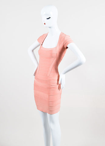"""Blush"" Pink  ""Blush"" Pink Square Neck Short Sleeve ""Rae"" Bandage Dress Square Neck Short Sleeve ""Rae"" Bandage Dress Sideview"