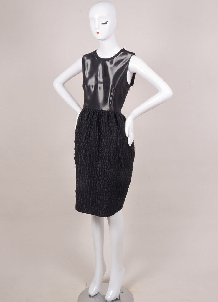 Honor New With Tags Black Liquid Textured Sleeveless Bell Dress Sideview