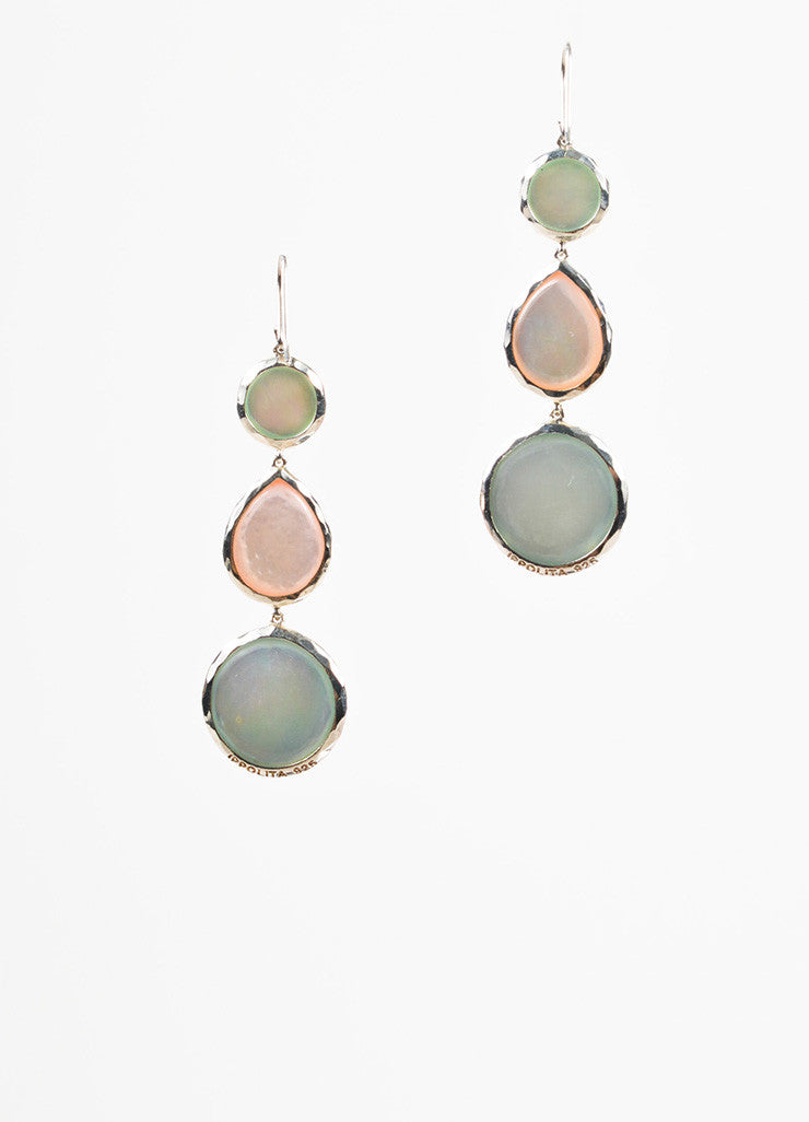 Ippolita Sterling Silver Peach Blue Quartz Mother Of Pearl Stone Drop Earrings Backview