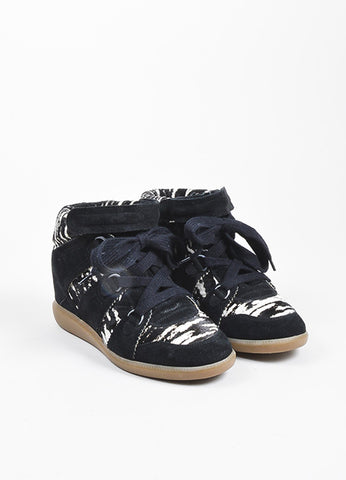 "Black and White Isabel Marant Suede and Pony Hair Zebra ""Bobby"" Wedge Sneakers Frontview"