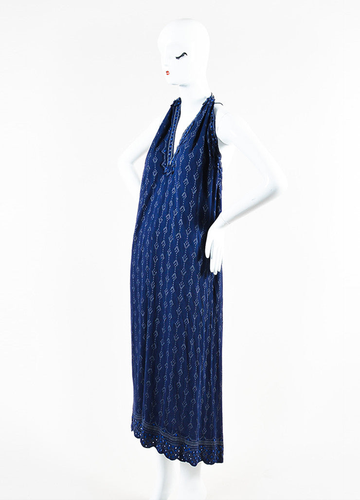 Isabel Marant Navy and Grey Printed Halter Maxi Dress Sideview