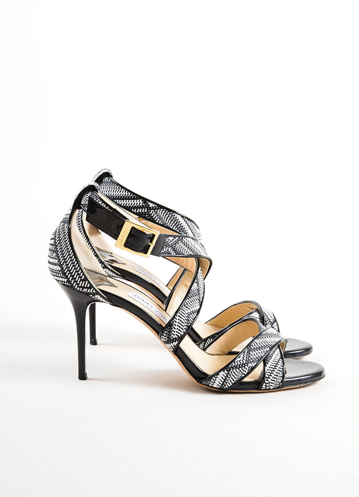 Black and White Jimmy Choo Woven Patent Leather Trim Strappy Sandal Heels Sideview