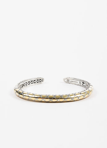 "John Hardy Sterling Silver and 18K Yellow Gold ""Naga"" Bangle Bracelet Frontview"