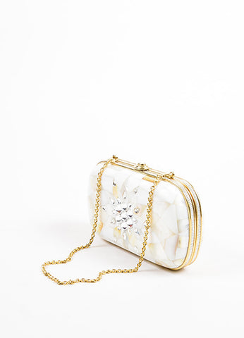 Judith Leiber Wedding Opalescent White Enamel Gold Tone Chain Strap Clutch Sideview