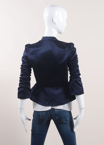 Karolina Zmarlak Navy Blue Silk Satin Peplum Blazer Jacket Backview