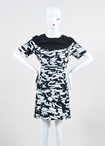 Black and White Kenzo Abstract Splatter Print Short Sleeve Fit and Flare Dress Frontview
