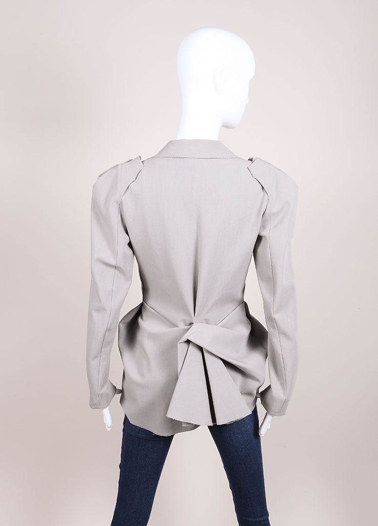 Lanvin New With Tags Grey Wool Blend Draped Long Sleeve Blazer Jacket Backview