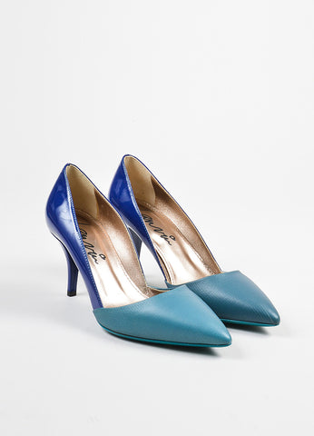 Lanvin Blue and Teal Patent Leather Pointed Toe High Heel Pumps Frontview