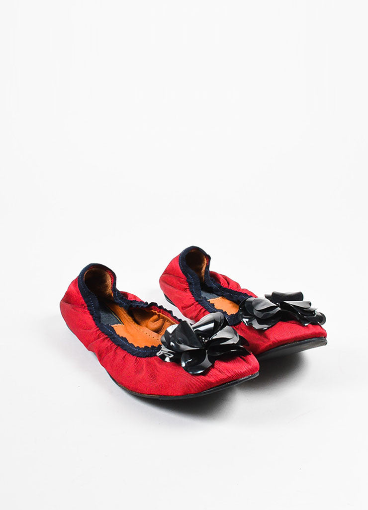 Lanvin Red Silk Grosgrain Sequined Flower Embellished Flats frontview
