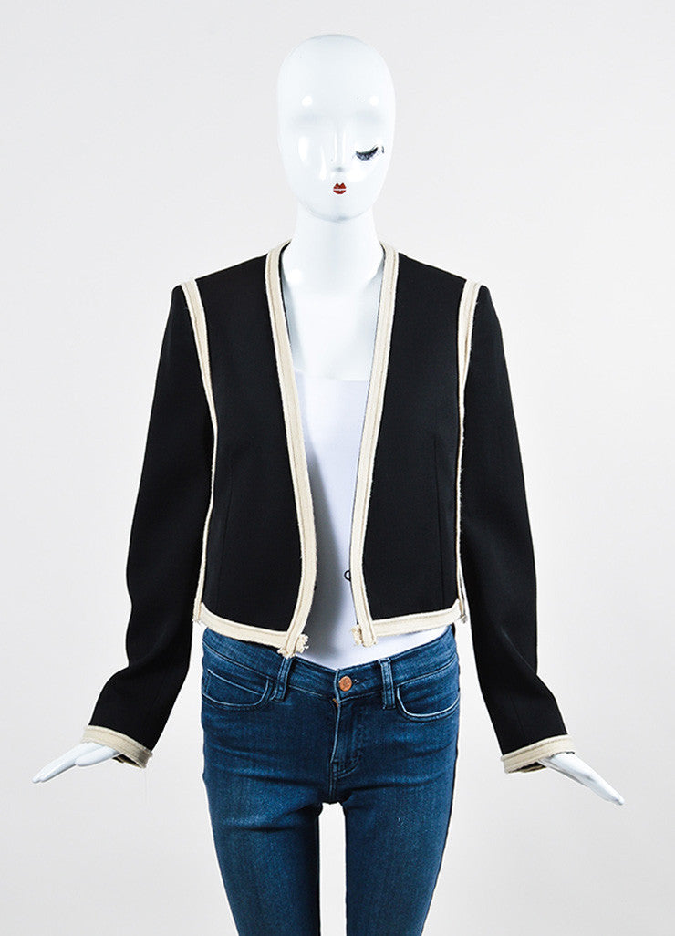 Black and Beige Lanvin Wool Braided Trim Collarless Cropped Jacket Frontview