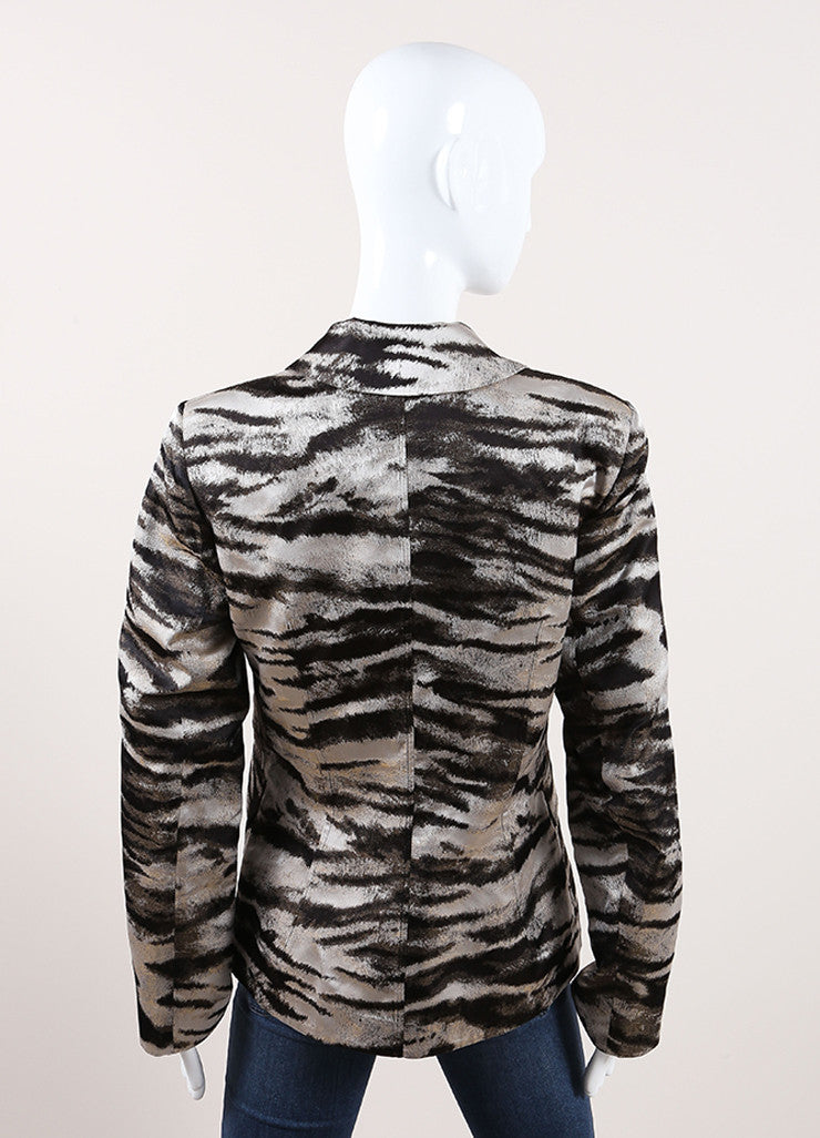 Lanvin New With Tags Silver, Bronze, and Brown Metallic Zebra Print Blazer Jacket Backview