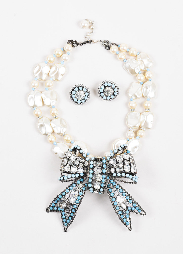 Lawrence VRBA Faux Pearl and Turquoise Beaded Rhinestone Bow Necklace and Earring Set Frontview