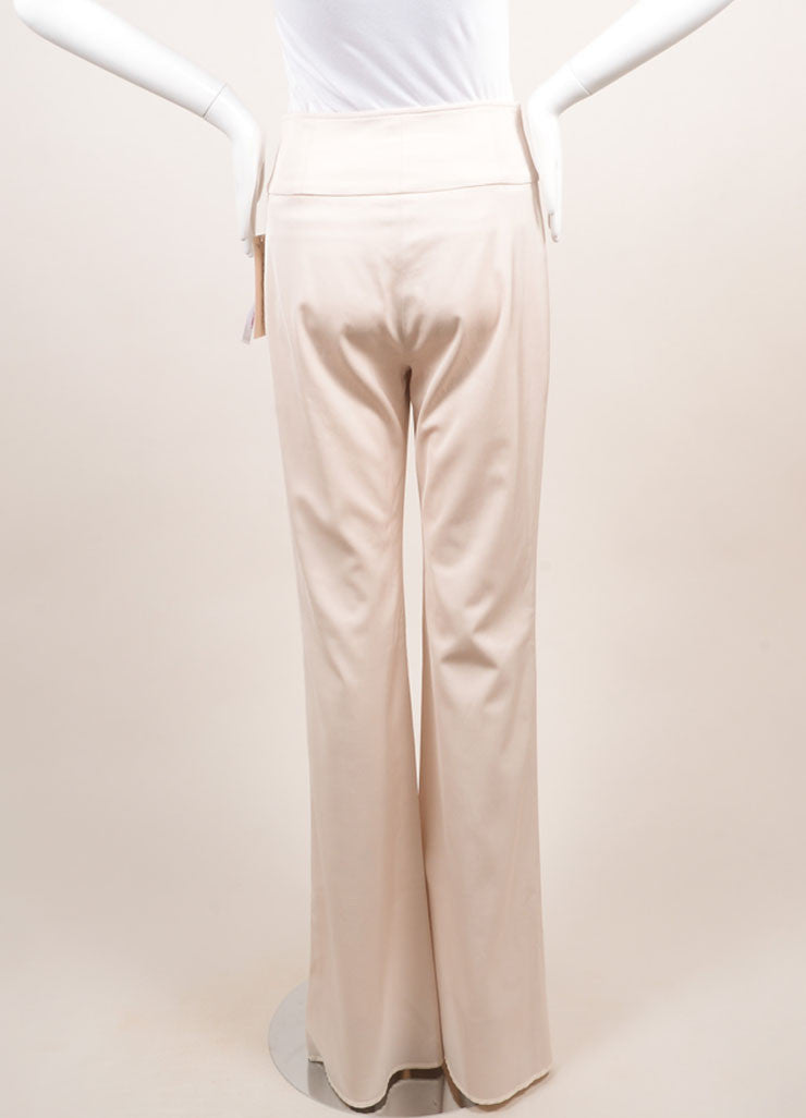 Lela Rose New With Tags Blush Wool Blend High Waisted Wide Leg Trousers Backview
