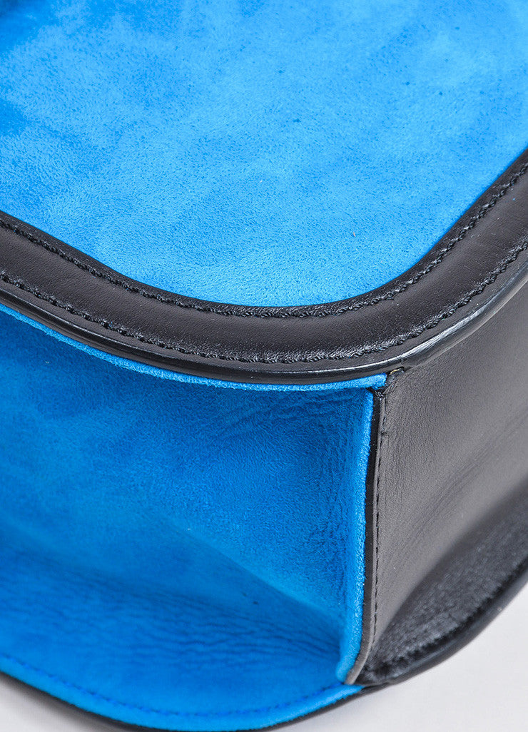 "Blue, Black, and Yellow Loewe Suede Leather Flap Cut Out ""V"" Shoulder Bag Detail"