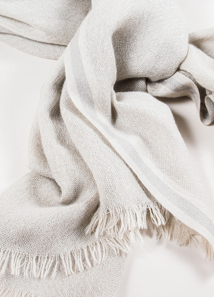 Loro Piana Beige Cashmere and Silk Fringe Scarf Detail