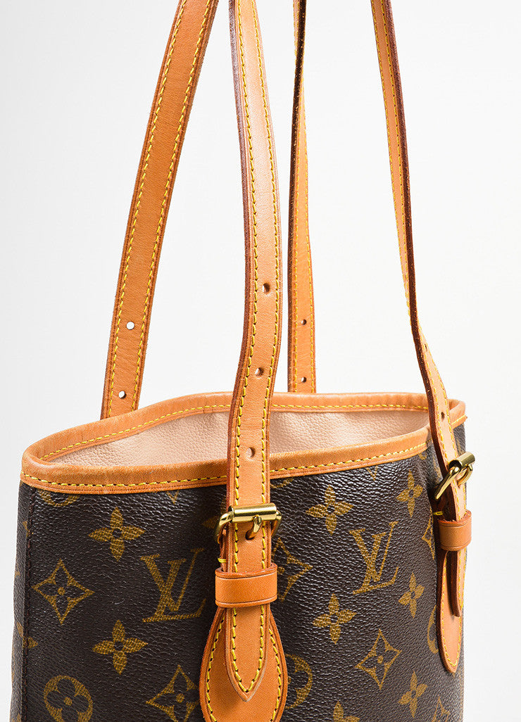 "Brown Louis Vuitton Coated Canvas Monogram ""Petit Bucket"" Tote with Pochette Detail 2"