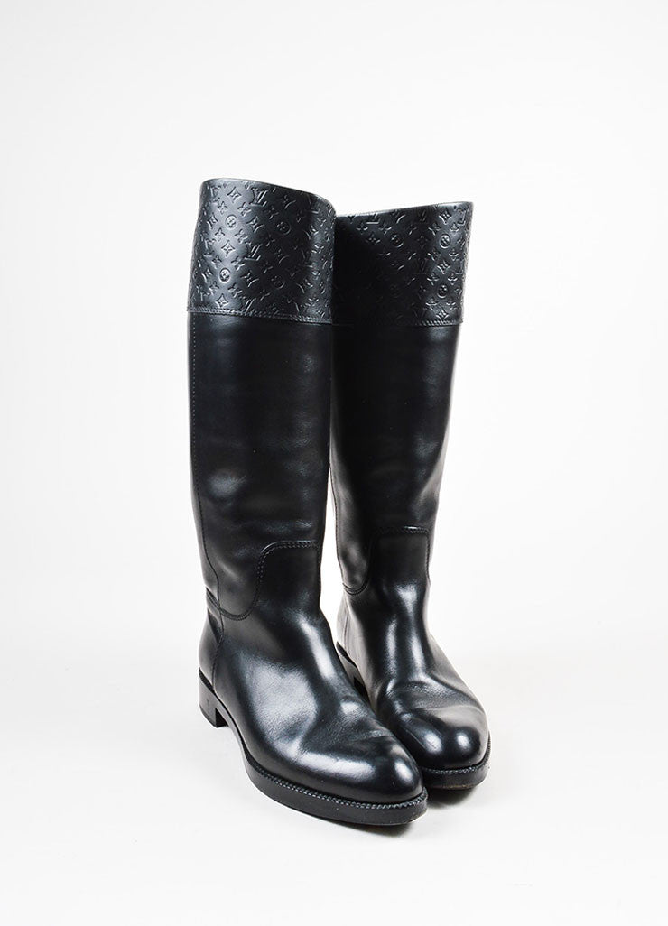 "Louis Vuitton Black Leather Monogram ""Free High"" Riding Boots Frontview"