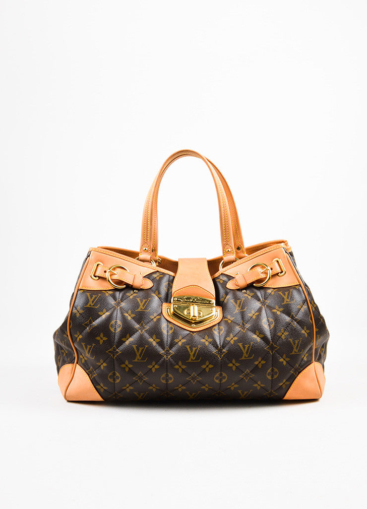 "Louis Vuitton Brown and Beige Coated Canvas and Leather ""Etoile Shopper"" Bag Frontview"